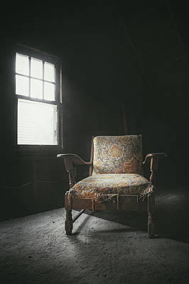 Exploration Photograph - The Armchair In The Attic by Scott Norris
