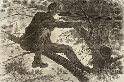 Hunters Drawing - The Army Of The Potomac  A Sharpshooter by Winslow Homer