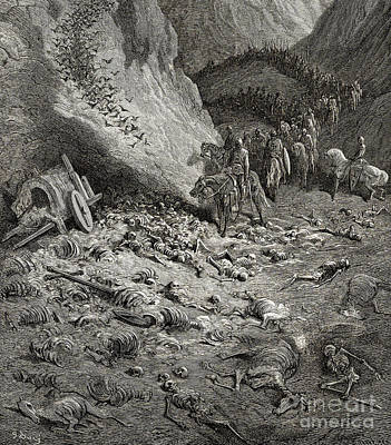 Bat Drawing - The Army Of The Second Crusade Find The Remains Of The Soldiers Of The First Crusade by Gustave Dore