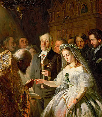 Old Age Painting - The Arranged Marriage, 1862 by Vasili Vladimirovits Pukirev