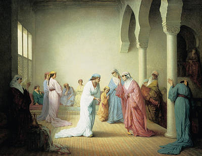 Turkish Painting - The Arrival Into The Harem At Constantinople by Henriette Browne