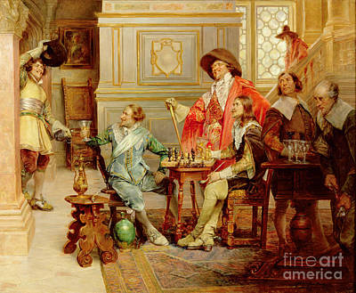 Chess Painting - The Arrival Of D'artagnan by Alex de Andreis
