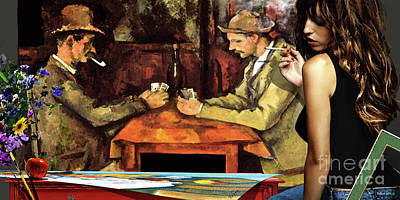 Impressionist Mixed Media - The Art Forger - Cezanne's The Card Players by Thomas Pollart