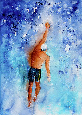 Sports Paintings - The Art Of Backstroke Swimming by Miki De Goodaboom