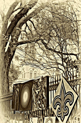 Fleur De Lis Photograph - The Art Of Jackson Square - Sepia by Steve Harrington