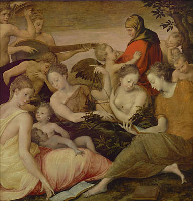 Painting - The Art Of Music by Artist Style Of Francesco Primaticcio