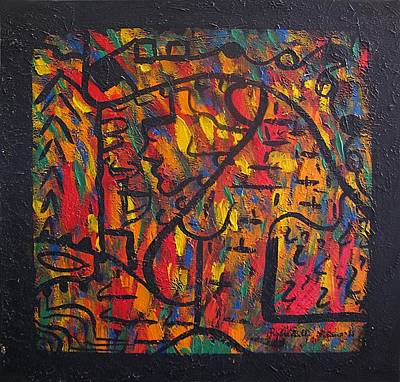 Colourfull Painting - The Artist And Society by Alfonso Robustelli