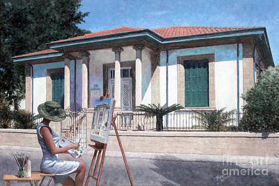 Larnaca Painting - The Artist At Her Easel by Theo Michael