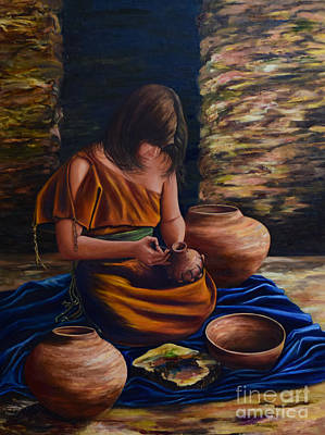 Hopi Indian Painting - The Artist by Mary Whitefeather