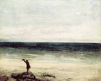 Ou Painting - The Artist On The Seashore At Palavas by Gustave Courbet