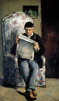 Post-impressionism Painting - The Artist's Father, Reading L'evenement by Paul Ceezanne