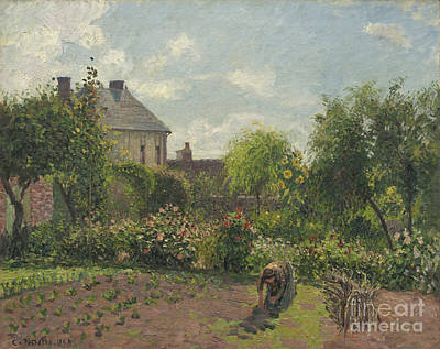 Weeding Painting - The Artist's Garden At Eragny by Camille Pissarro