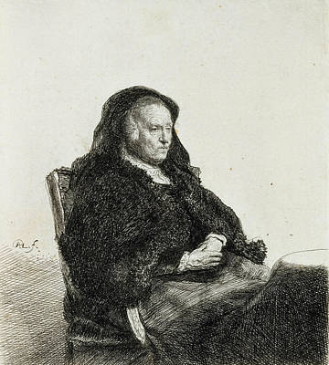Relief - The Artist's Mother Seated At A Table by Rembrandt