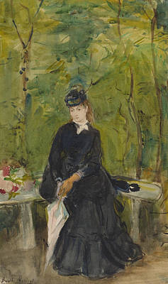 Sisters Painting - The Artist's Sister Edma Seated In A Park by Berthe Morisot