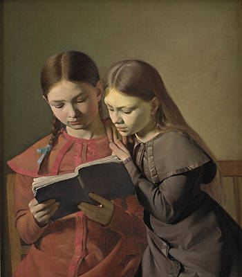 Painting - The Artist's Sisters Signe And Henriette Reading A Book by Constantin Hansen