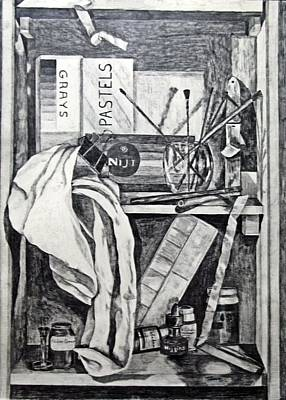 Wall Art - Drawing - The Artist's Tools - A Trompe L'oeil by Linda Heberling