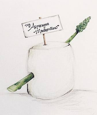 Asparagus Drawing - The Asparagus Marshmallow  by Gretchen Brashaw