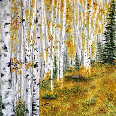 Wall Art - Painting - The Aspen Grove by Mary Arneson