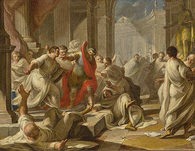Painting - The Assassination Of Julius Caesar by Attributed to Giacomo Zoboli