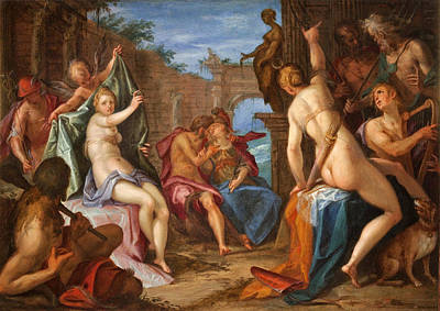 The Gods Of Olympus Painting - The Assembly Of The Gods On Mount Olympus by Hans von Aachen