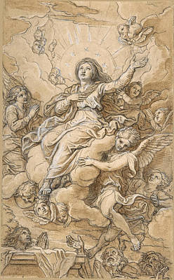 Drawing - The Assumption Of The Virgin by Michel Corneille the Younger