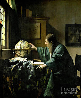 Globe Painting - The Astronomer by Jan Vermeer