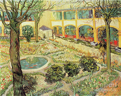 Fountain Painting - The Asylum Garden At Arles by Vincent van Gogh