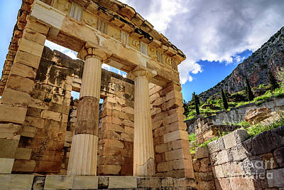Photograph - The Athenian Treasury At Delphi, Greece by Global Light Photography - Nicole Leffer
