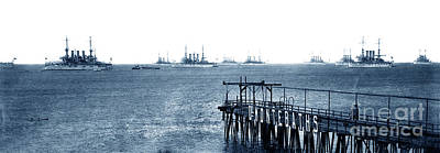 Photograph - The Atlantic Fleet Anchored Off The Del Monte Bath House Pier In by California Views Mr Pat Hathaway Archives