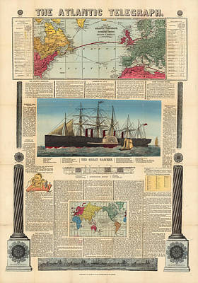 Drawing - The Atlantic Telegraph - Submarine Cables In Europe And North America - Historic Map by Studio Grafiikka