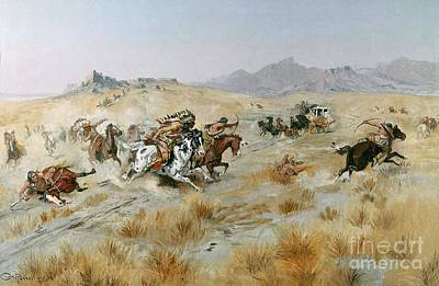 Horse And Wagon Photograph - The Attack by Charles Marion Russell