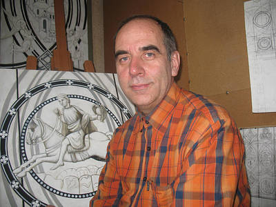 Racei Glass Art - The Author Himself In Front Of The Preparatory Drawings For The Stained Glass. Yune 2010 by Yuri Yudaev
