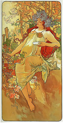 The Autumn Art Print by Alphonse Mucha