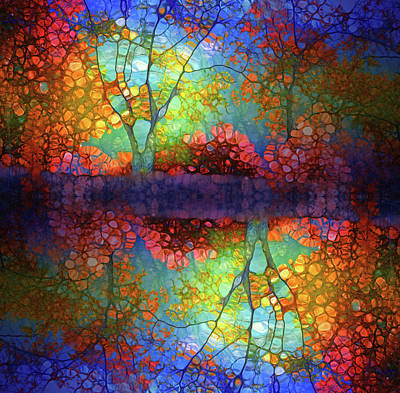 Digital Art - The Autumn Blues Reflected by Tara Turner