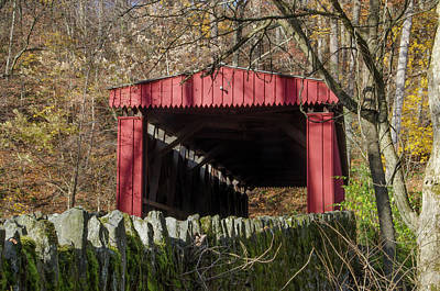 Photograph - The Autumn Season - Thomas Covered Bridge by Bill Cannon