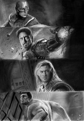 Robert Downey Jr Drawing Drawing - The Avengers by Nat Morley