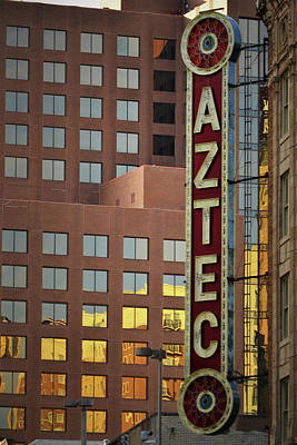 Signs Photograph - The Aztec Theater San Antonio by Nadalyn Larsen