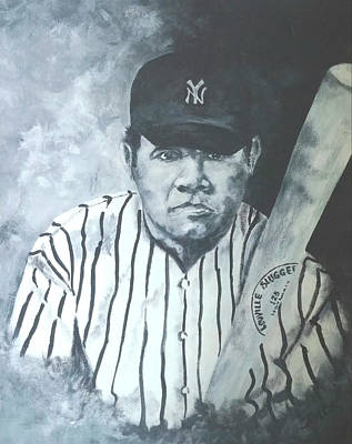Iconic Baseball Players Drawing - The Babe by Jim Brown