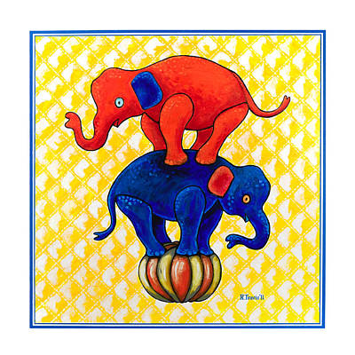 Orange Wall Art - Painting - The Baby Elephants Ball by Rich Travis