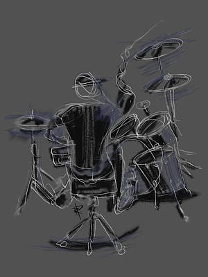 Drummer Mixed Media - The Back Beat by Russell Pierce