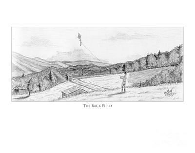 Old Barn Drawing - The Back Field by Matthew Byrd