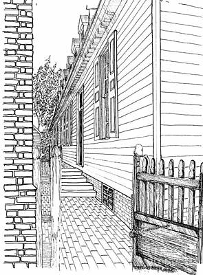 Williamsburg Color Drawing - The Back Gate To The Alley by Dawn Boyer