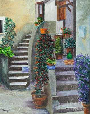 Villa Painting - The Back Stairs by Charlotte Blanchard