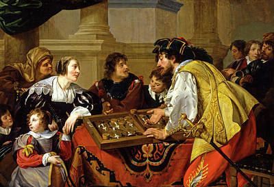 Backgammon Painting - The Backgammon Players by Theodoor Rombouts