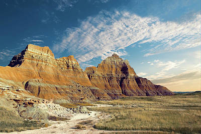 The Badlands Of South Dakota Art Print by Tom Mc Nemar