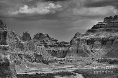 Photograph - The Badlands Sandstone Fortress In Black And White by Nadalyn Larsen