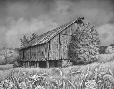 Old Barn Drawing - The Baker Barn by Ralph Cale