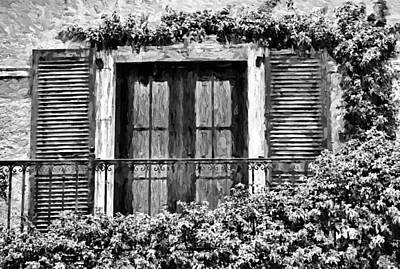 Photograph - The Balcony 2 - Black And White by HH Photography of Florida