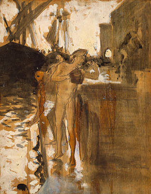 Painting - The Balcony, Spain Two Nude Bathers Standing On A Wharf by John Singer Sargent