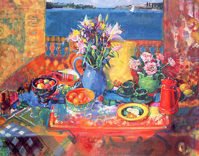Blue Jug Painting - The Balcony Table by Peter Graham